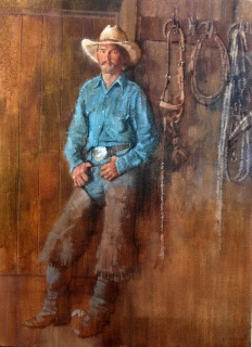 "Cowboy, 18"" x 24"" oil on canvas"