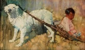 Indian Girl and Dog