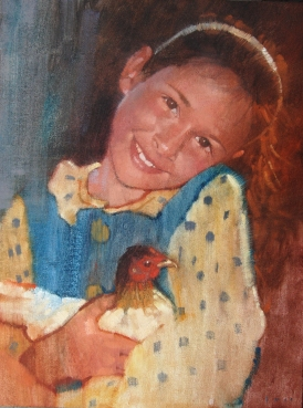 Girl and Hen