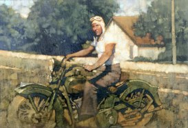 "Harley 1940's 12'x16"" oil on canvas"